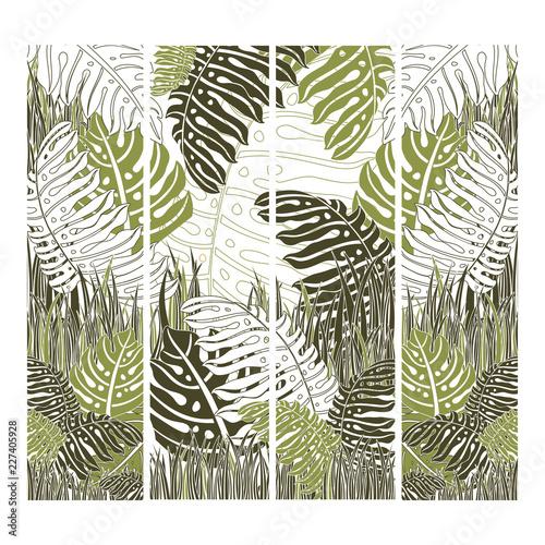 Ingelijste posters Tropische Bladeren Green vector tropical background