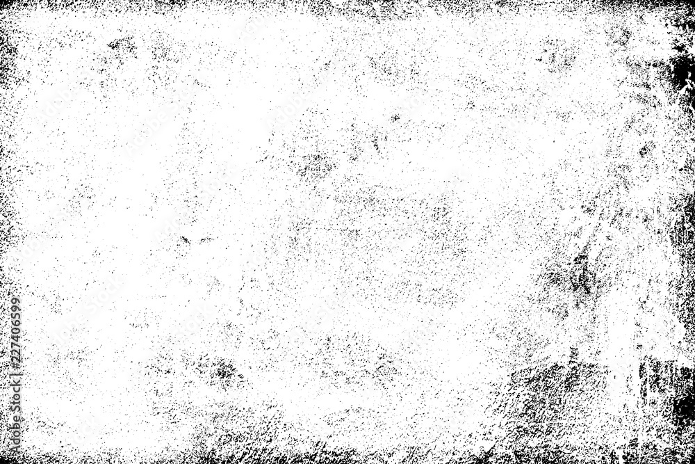 Fototapeta Grunge background black and white. Texture of chips, cracks, scratches, scuffs, dust, dirt. Dark monochrome surface. Old vintage vector pattern