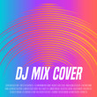 Music cover with vibrant waveform as a vinyl grooves