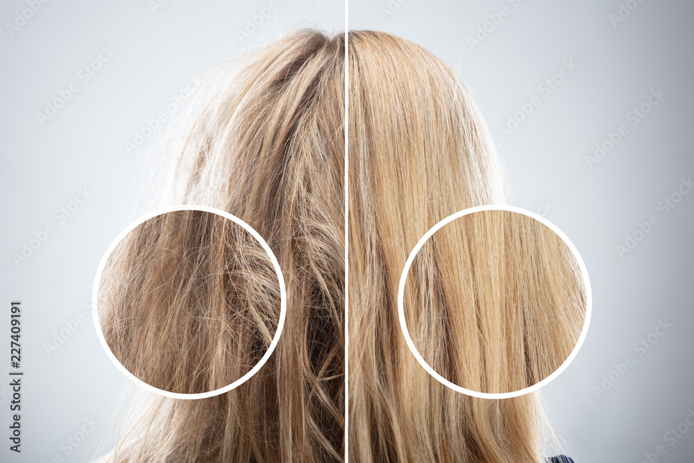 Fototapeta Woman's Hair Before And After Hair Straightening