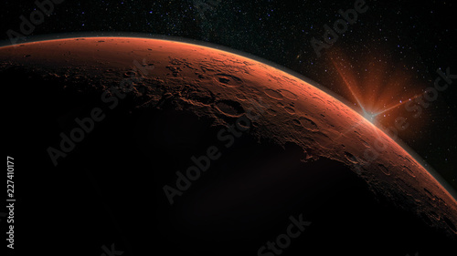 Obraz Mars high resolution image. Mars is a planet of the solar system. Sunrise with lens flare. Elements of this image furnished by NASA. - fototapety do salonu