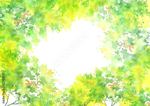 Foto auf AluDibond Gelb Watercolor country forest landscape. Autumn, summer forest green and yellow. Branches of birch, aspen, willow, bushes, wild plants and grass. Art illustration, abstract splash of paint. Postcard, card