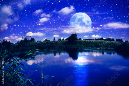 Poster Dark blue Full moon over river