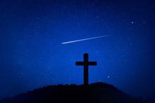 Silhouette Of Crucifix Cross O...