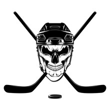 Vector Image Of A Skull In A Hockey Helmet With Sticks And Puck.