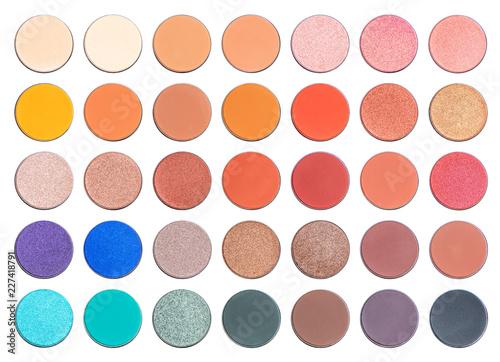 Assorted colors blusher or eyeshadow, isolated on white background Fototapeta