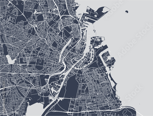 map of the city of Copenhagen, Denmark Wallpaper Mural