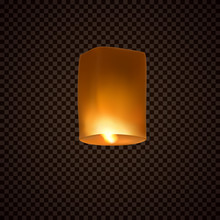 Lantern Isolated On Transparent Background. Diwali Festival Floating Lamp. Vector Indian Paper Flying Light Ballon With Flame At Night Sky.