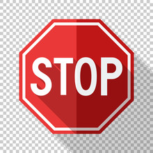 Stop Sign In Flat Style With Long Shadow On Transparent Background