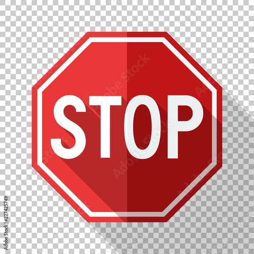 Fotografía  Stop sign in flat style with long shadow on transparent background