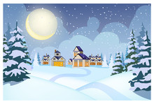 Winter Landscape With Cottages, Snowdrifts And Fir-trees Vector Illustration. Snowy Night Village Scene. Christmas Or New Year Concept. For Websites, Wallpapers, Posters Or Banners