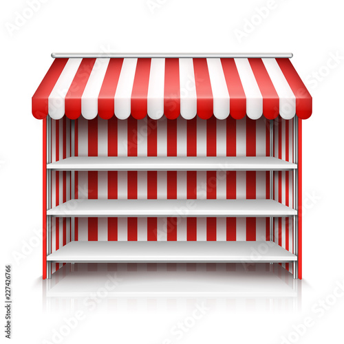 Fotomural Vector realistic illustration of market stall with red and white striped awning isolated on background