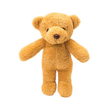 Brown Teddy Bear On Isolated Background. Cute Fluffy Animal For Children Use As Gift Or Hug.