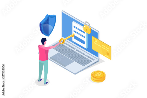 Fotografía  Security, Safety and confidential personal Data Protection Isometric concept