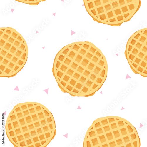 cute cartoon seamless pattern with waffle and triangles Fototapeta