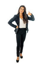 Full Body Portrait Of A Attractive Businesswoman Looking Happy And Successful