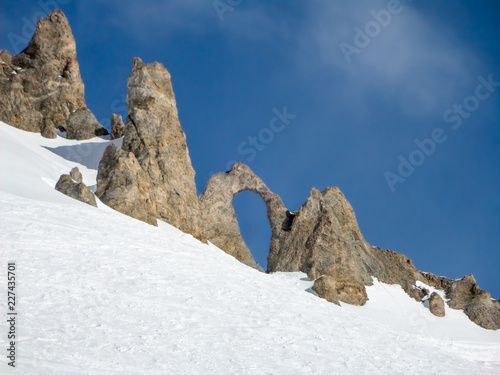 The Aiguille percee, a needle of rock with a large hole, in Tignes, the Alps, Fr Canvas Print