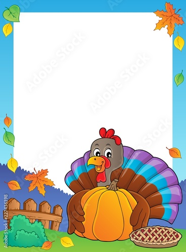 Turkey bird holding pumpkin frame 1