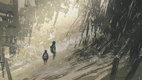 two brothers in the apocalyptic city with ash storm, digital art style, illustration painting