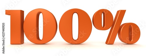 Fotomural percent sign percentage interest rate 3d orange rendering 100 % sale discount sa