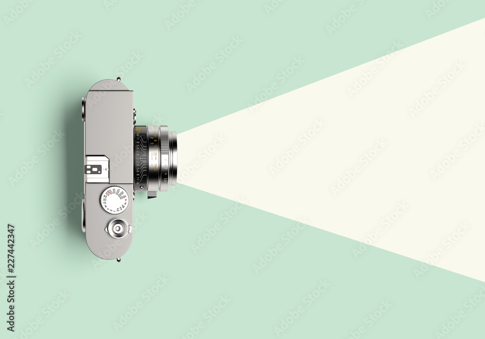 Fototapety, obrazy: Flat light coming out of the lens of a vintage viewfinder camera. 3d illustration.
