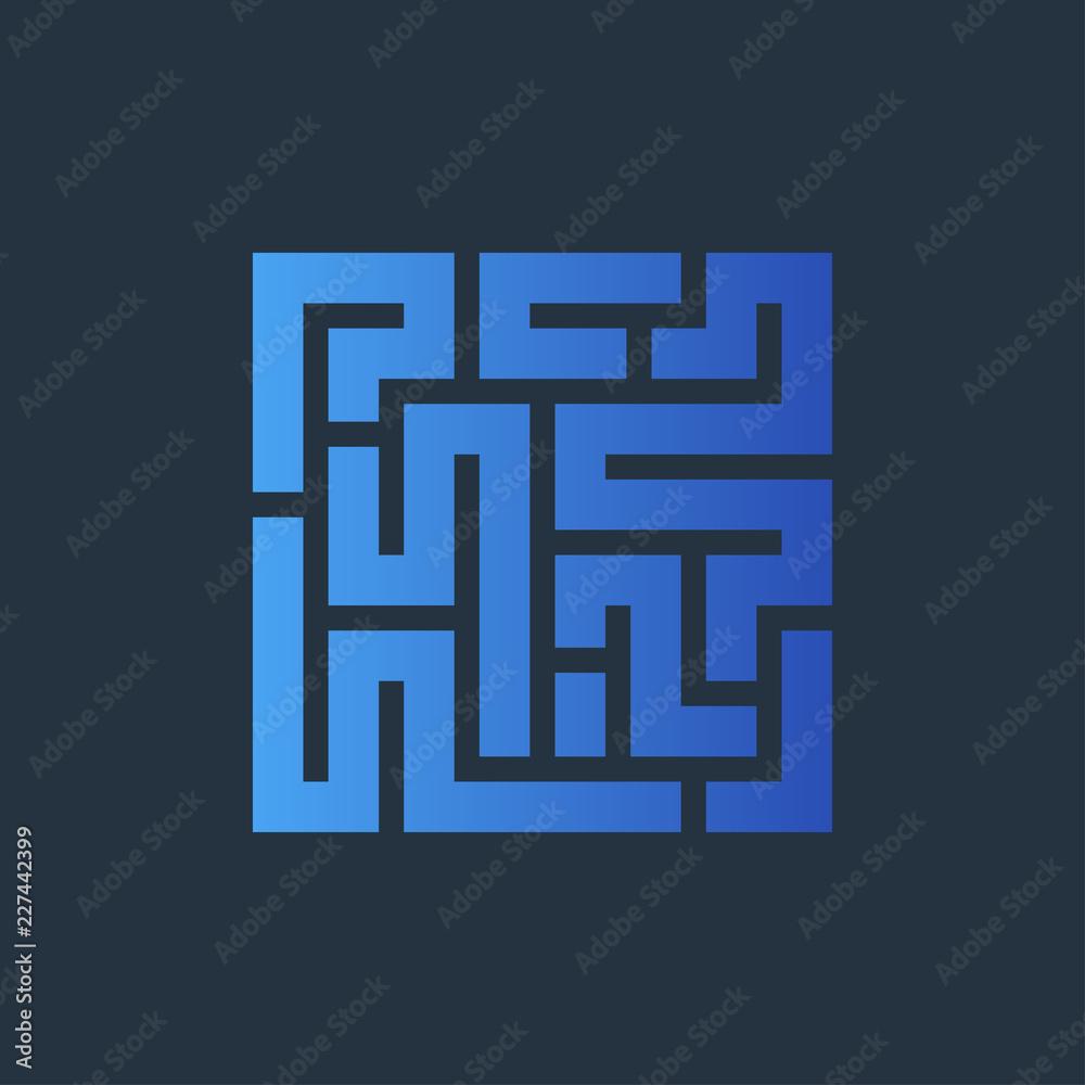 Fototapeta Icono plano laberinto azul en fondo oscuro