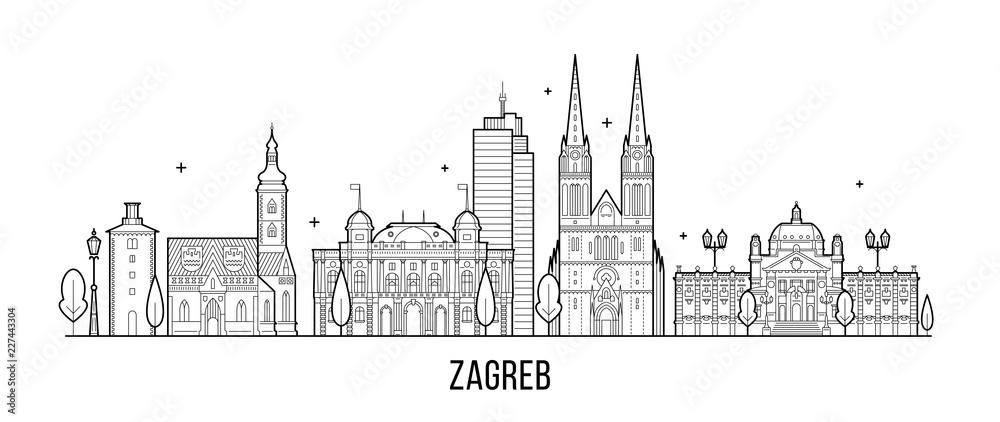 Fototapety, obrazy: Zagreb skyline Croatia big city buildings vector