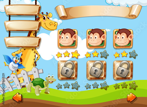Staande foto Kids Animals on game template