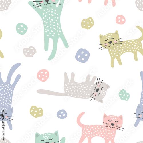 dziecinna-wzor-z-kotami-kreatywna-tekstura-dla-tkaniny