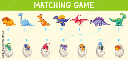 Photo Matching dinosaur number worksheet