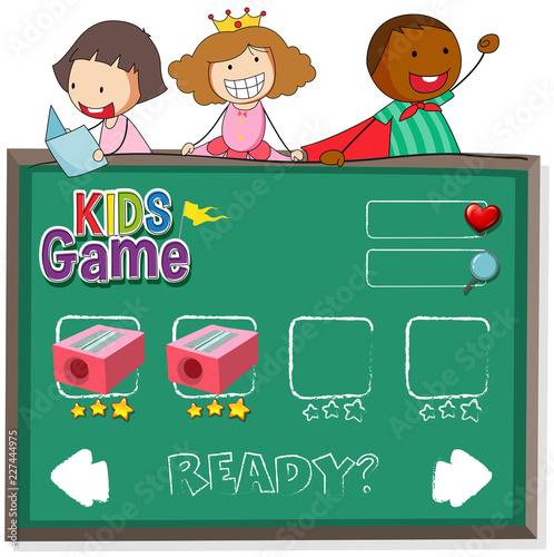 Staande foto Kids Doodle kids on game template