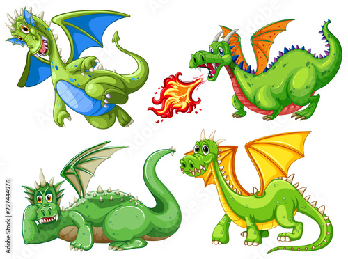 Fototapeta Set of green dragon