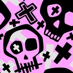 Skull funky boys and girls apparel modern print.