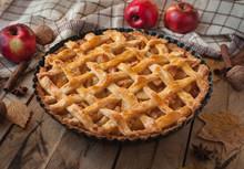 Homemade Apple Pie On Wooden B...