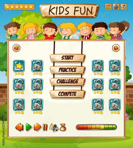 Staande foto Kids Kids on game template