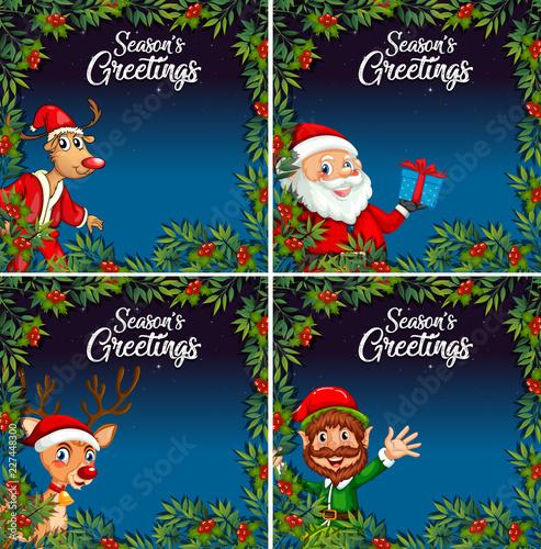 Staande foto Kids Christmas night card template