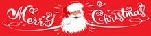 Christmas Card With A Santa Claus And Text Merry Christmas On A Red Background. Christmas Card. Banner. Vector Art
