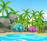 Fototapeta Dinusie - Dinosaur next to the beach