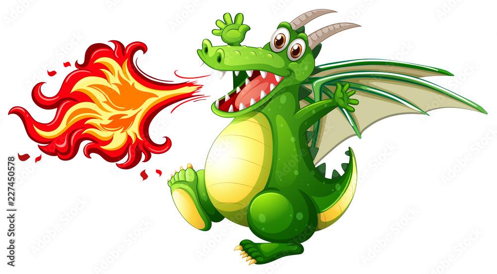Fototapeta A green dragon fire