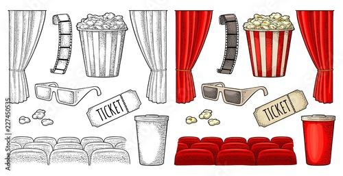 Cinema set. Vector engraving vintage black illustration.