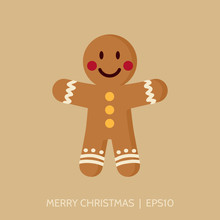 Gingerbread Man Icon. Christmas Card Template