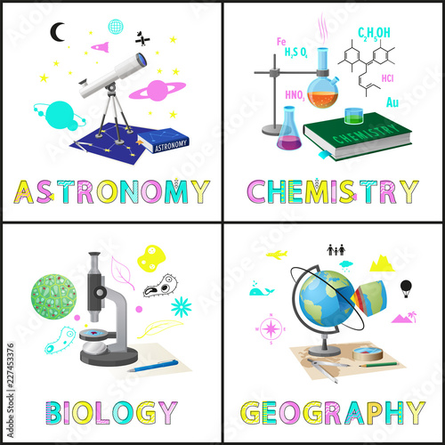 Photo Astromony and Chemistry Set Vector Illustration