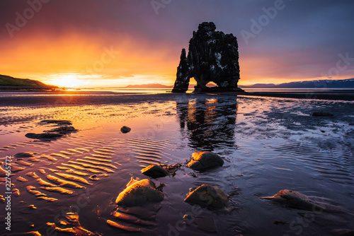 Fotografie, Obraz  Hvitserkur is a spectacular rock in the sea on the Northern coast of Iceland