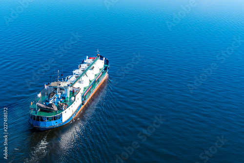 Tanker in the sea - top view