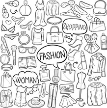 Fashion Clothes Woman Traditional Doodle Icons Sketch Hand Made Design Vector