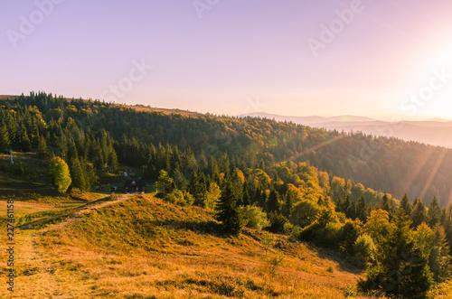 Printed kitchen splashbacks South Africa Carpathian mountains in sunny day in the autumn season
