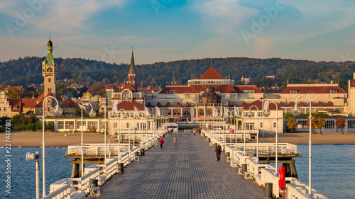 Poster Taupe The Sopot Pier and beautiful cityview/cityscape of Sopot, Poland. Amazing sunrise.