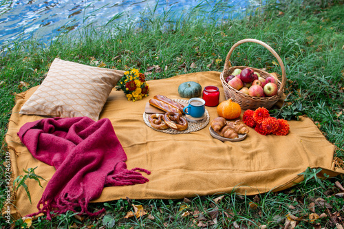 Basket with Food Bakery Autumn Picnic Time Rest Background