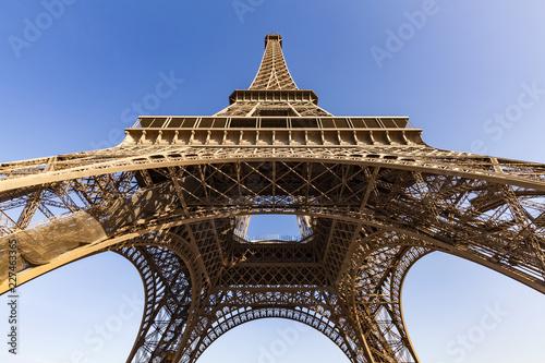 France, Paris, Eiffel Tower, worm's eye view - 227463365