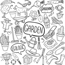Garden Tools Traditional Doodle Icons Sketch Hand Made Design Vector